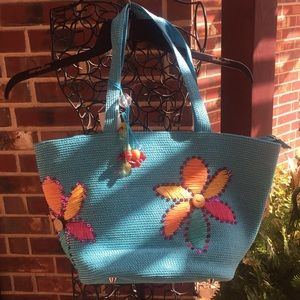 Coldwater Creek Flower & Sequin Tote